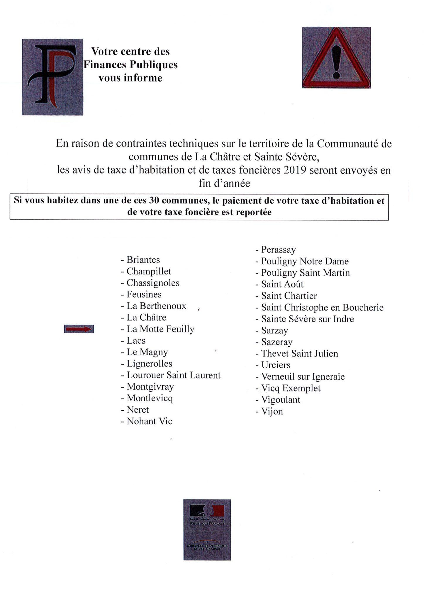 Le centre des finances publiques de La Châtre vous informe…