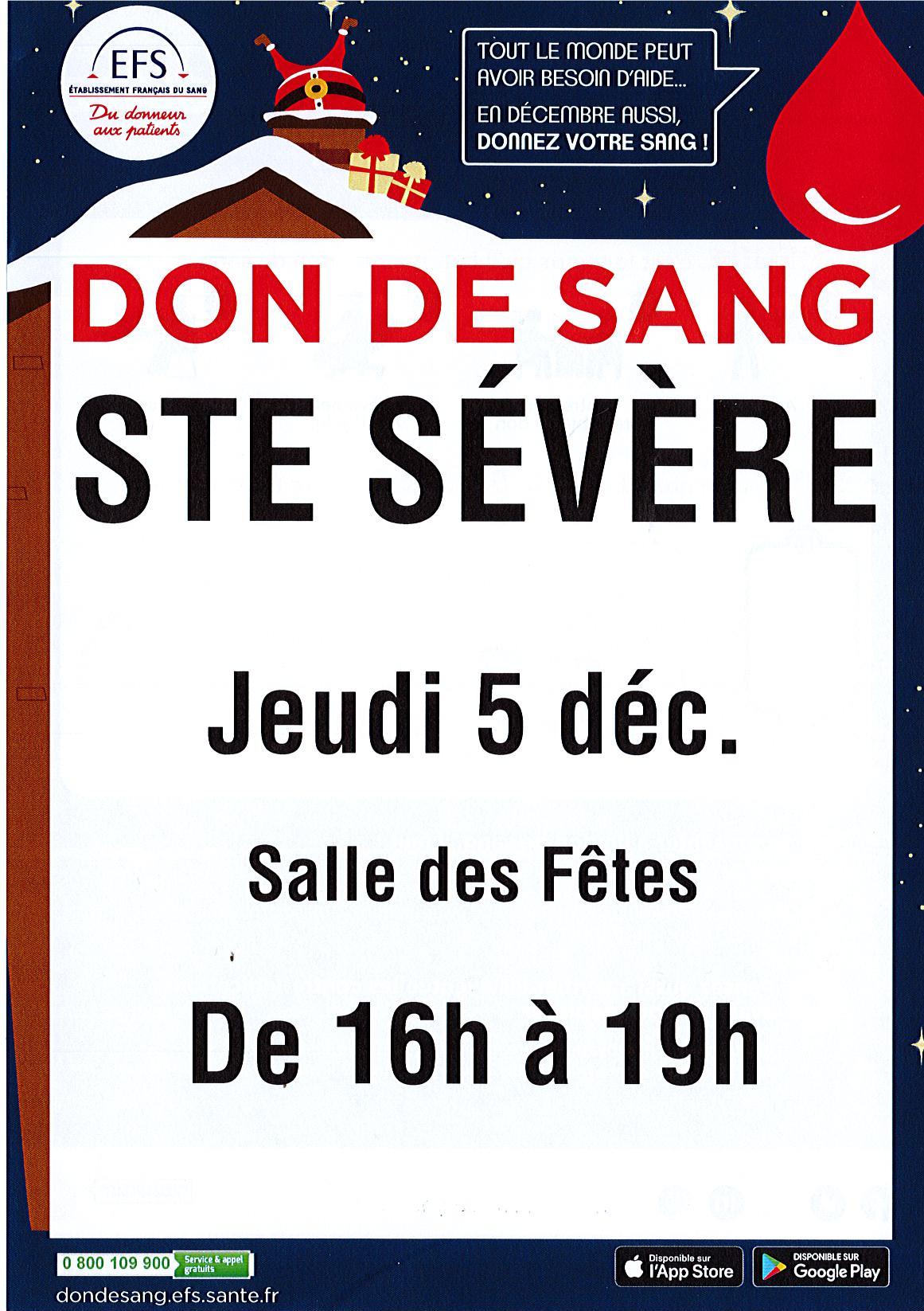 Jeudi 5 décembre – Don du sang