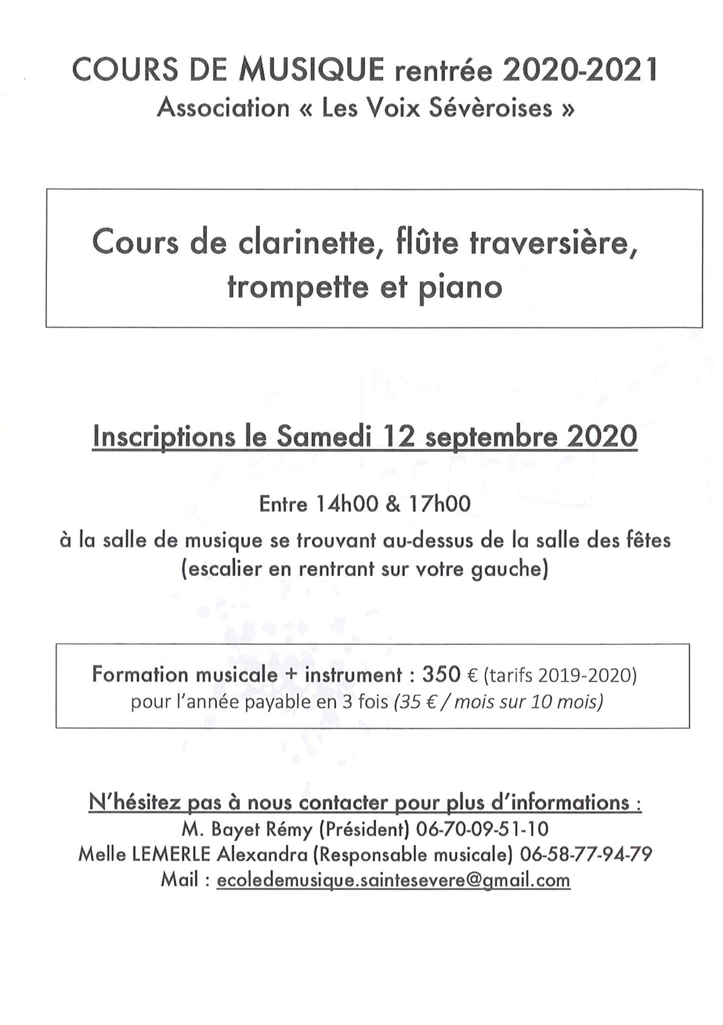 Cours de musique rentrée 2020/2021