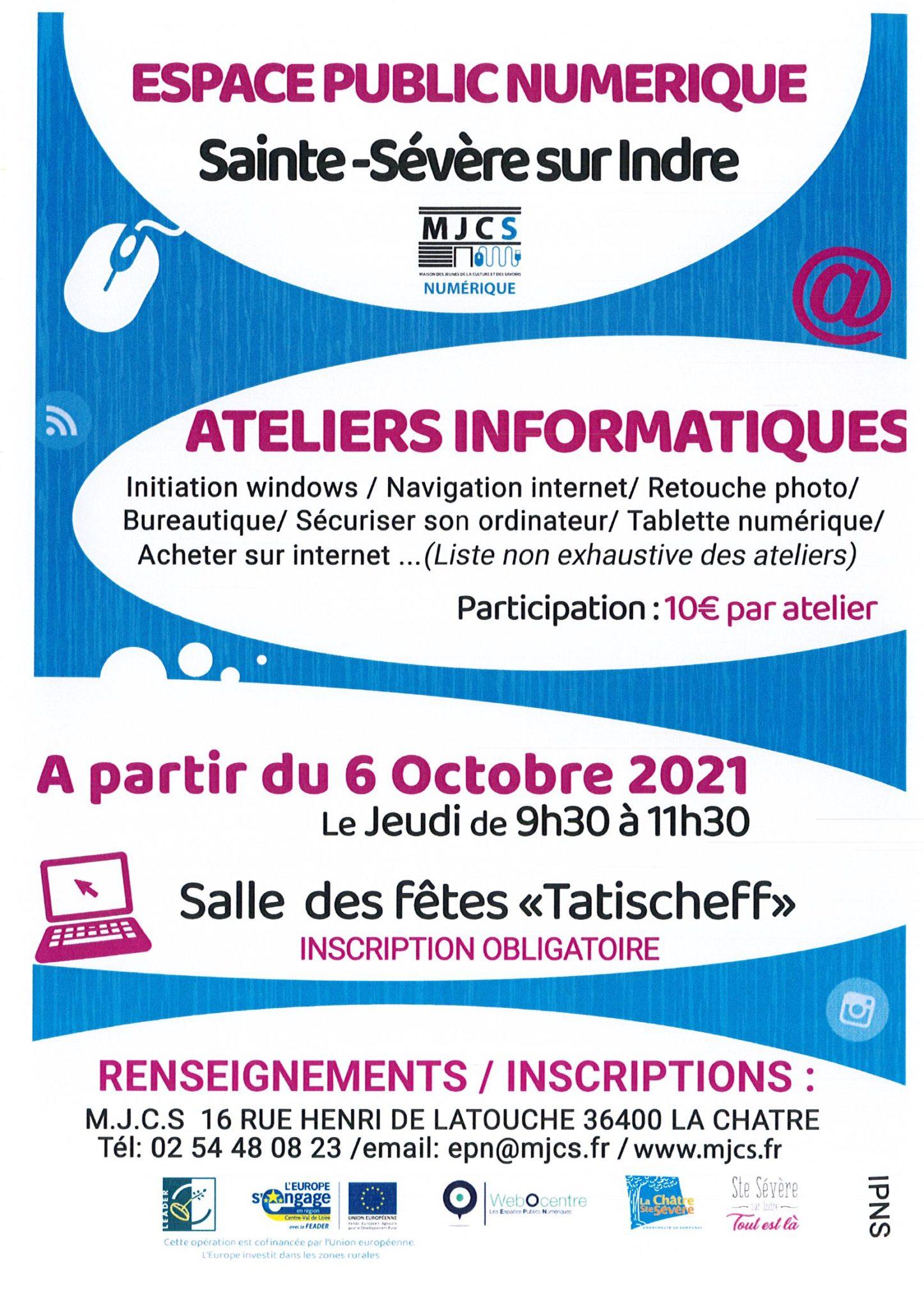 Ateliers informatiques à partir du 6 octobre
